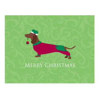 Dachshund - Merry Christmas Design Postcard