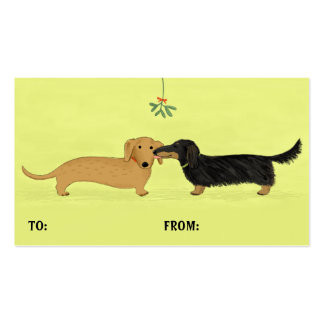 Dachshund Mistletoe Kiss Christmas Gift Tags Pack Of Standard Business Cards
