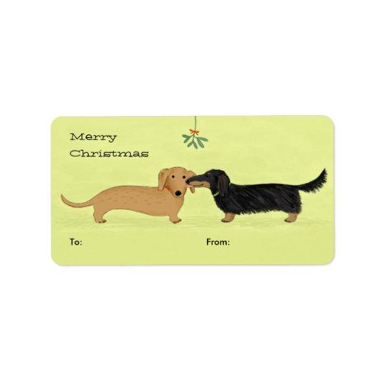 Dachshund Mistletoe Kiss - Wiener Dog Christmas Label