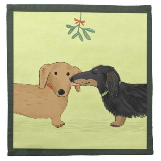 Dachshund Mistletoe Kiss - Wiener Dog Christmas Napkin