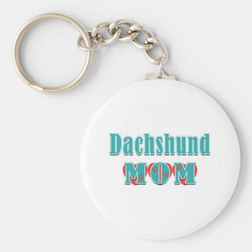 Dachshund Mom Hearts Key Chains