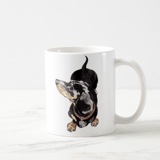 dachshund mug with paw prints