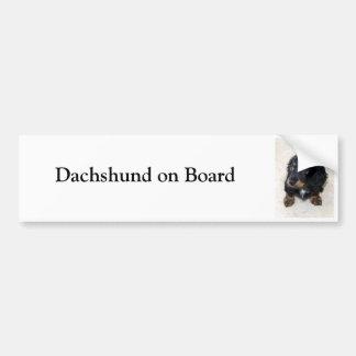 Dachshund on board custom bumper sticker