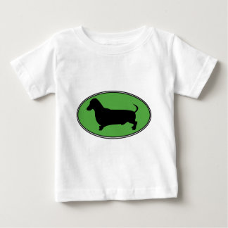 Dachshund Oval Green-Plain Baby T-Shirt