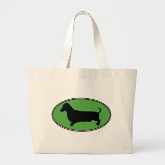 Dachshund Oval Green-Plain Tote Bags