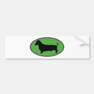 Dachshund Oval Green-Plain Bumper Sticker