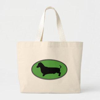 Dachshund Oval Green-Plain Jumbo Tote Bag