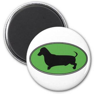 Dachshund Oval Green-Plain Magnet