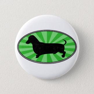 Dachshund Oval Green-Starburst-Wash 6 Cm Round Badge