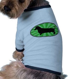 Dachshund Oval Green-Starburst-Wash Doggie Tshirt