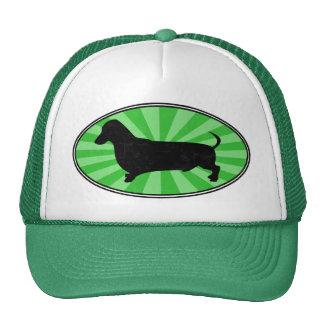 Dachshund Oval Green-Starburst-Wash Trucker Hat