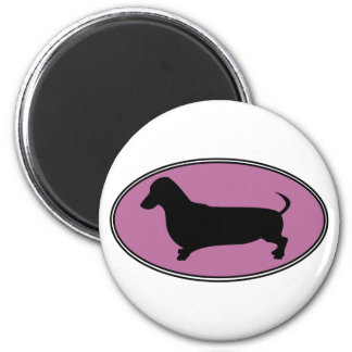 Dachshund Oval Pink Magnet