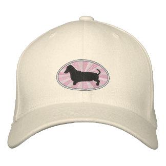 Dachshund Oval Pink Starburst Embroidered Hat