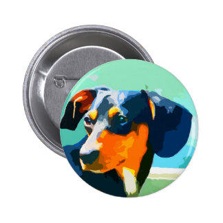 Dachshund Painted Doxie Portrait 6 Cm Round Badge