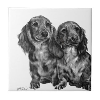 Dachshund Pair Small Square Tile