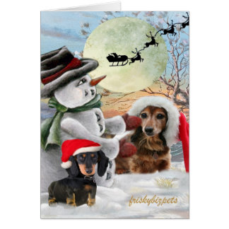 Dachshund Pals Posed with Snowman Cards