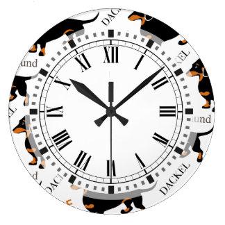 Dachshund Pattern Large Clock