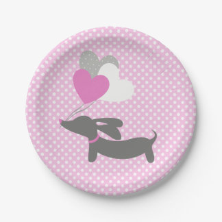 Dachshund Pink Girl Baby Shower Paper Plates