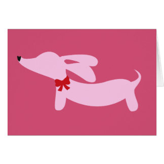 Dachshund Pink with Red Bow Card