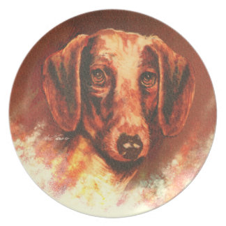 Dachshund portrait by Nate Owens Plate
