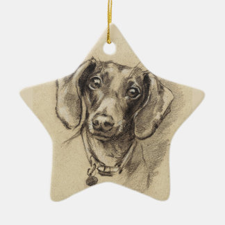 Dachshund portrait christmas ornament