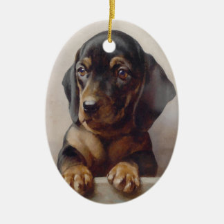 Dachshund Puppy Art Ceramic Oval Decoration