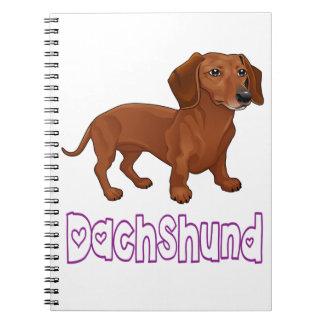 Dachshund Puppy Dog Blue Love Spiral Notebook
