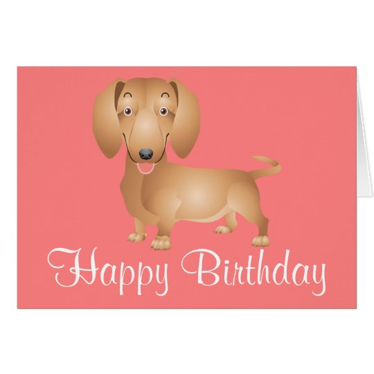 Dachshund Puppy Dog Happy Birthday Pink Card