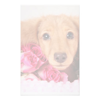 Dachshund Puppy Surrounded by Roses Custom Stationery