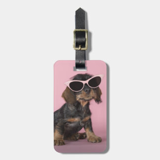 Dachshund Puppy Wearing Sunglasses Luggage Tag