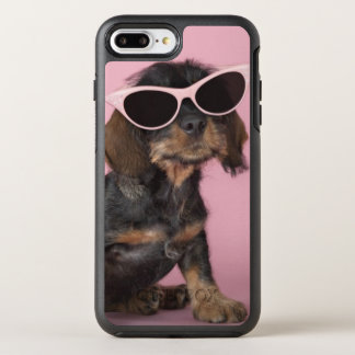 Dachshund puppy wearing sunglasses OtterBox symmetry iPhone 8 plus/7 plus case