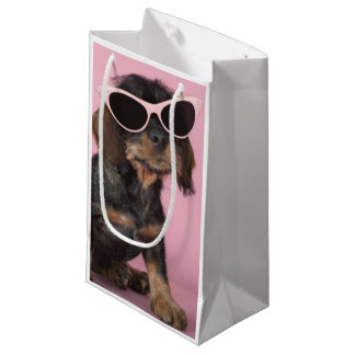 Dachshund Puppy Wearing Sunglasses Small Gift Bag