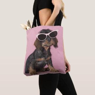 Dachshund Puppy Wearing Sunglasses Tote Bag