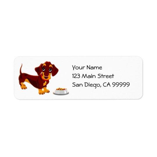 Dachshund Puppy with Food Bowl Return Address Label