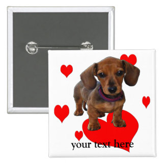 DACHSHUND Puppy with Hearts 15 Cm Square Badge
