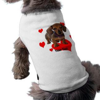 DACHSHUND Puppy with Hearts Sleeveless Dog Shirt