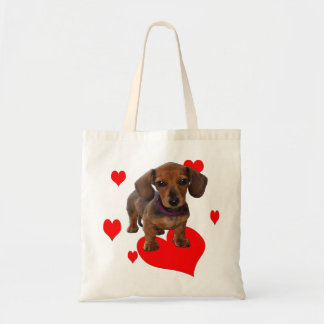 DACHSHUND Puppy with Hearts Tote Bag