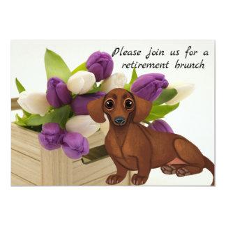 Dachshund  Purple Tulips Retirement  Invitation