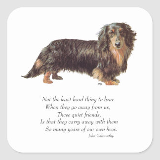 Dachshund Rainbow Bridge Square Sticker