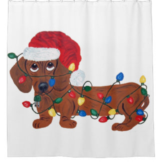 Dachshund (Red) Tangled In Christmas Lights Shower Curtain