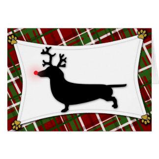 Dachshund Reindeer Christmas Card