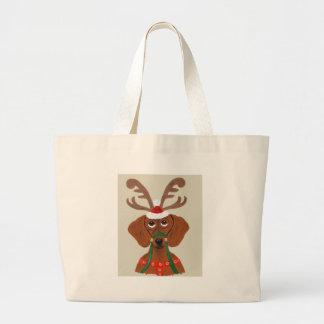 Dachshund  Reindeer Large Tote Bag