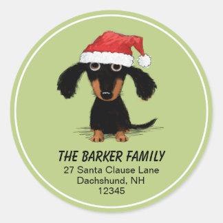 Dachshund Santa Christmas Holiday Return Address Classic Round Sticker