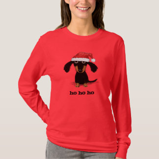 Dachshund Santa Clause with Customizable Text T-Shirt