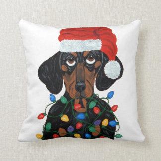 Dachshund Santa Tangled In Christmas Lights Cushion