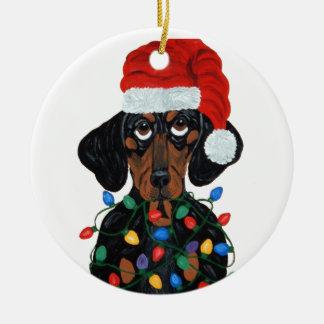 Dachshund Santa Tangled In Christmas Lights Round Ceramic Decoration