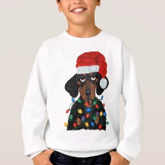 Dachshund Santa Tangled In Christmas Lights Sweatshirt