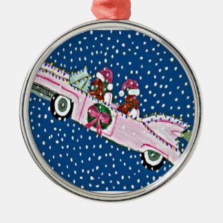 Dachshund Santas Christmas Pink Cadillac Christmas Ornament