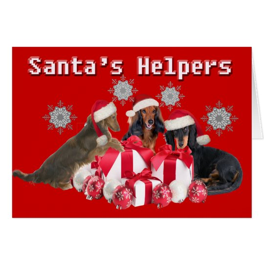 Dachshund Santa's Helper Cards