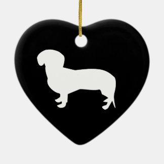 Dachshund Silhouette Ceramic Heart Decoration